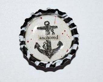 Retro Anchor Black and White Zebra Print Bottlecap Magnet