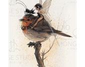Small Fine Art Print - TINKERBELL on Robin
