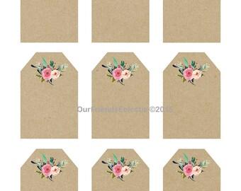 printable wedding favor tags, printable tags, digital floral tags, rustic tags, rustic wedding tags, blank tags, blank kraft tags, you print