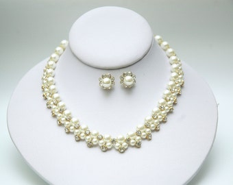 Pearl Bridal Jewelry Set, Pearl Necklace and Earrings, Wedding Earrings, Bridal Necklace, Gold Pearl Set, Pearl Wedding Jewelry