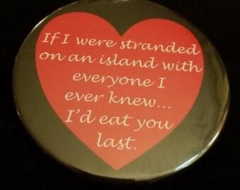 "2.25"" Heart pin back button (Badge)"