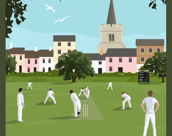 LIFE'S A GAME. Cricket on a Sunday afternoon. Art Travel Poster. A4, A3, A2.