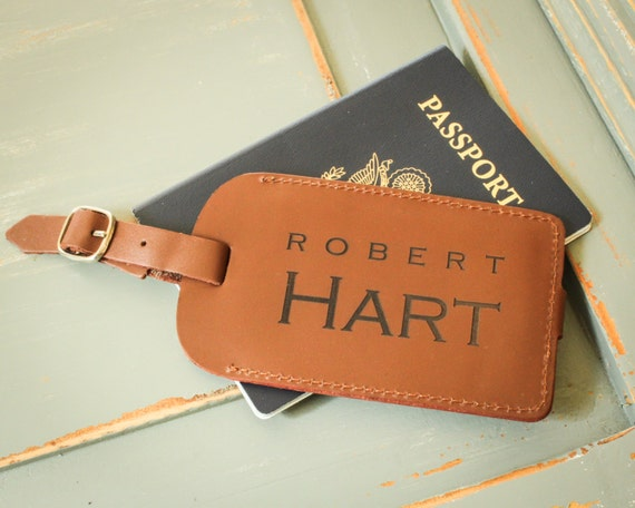 Personalized Luggage Tags Wedding Gift: Personalized Luggage Tag Leather Luggage Tag By EngraveMeThis