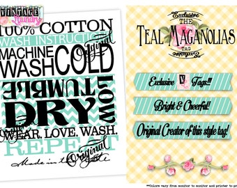 Teal Maganolias Care Instructions PNG JPG Instant Download File Wash Instructions Tag Label (Machine Wash Cold/Tumble Dry)