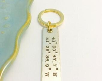 Bronze Anniversary Key Chain ~ Custom Coordinates ~ Longitude ~ Latitude ~ GPS ~  Keychain ~ Wanderlust ~ Adventure Awaits ~ Wander ~ 8 Year
