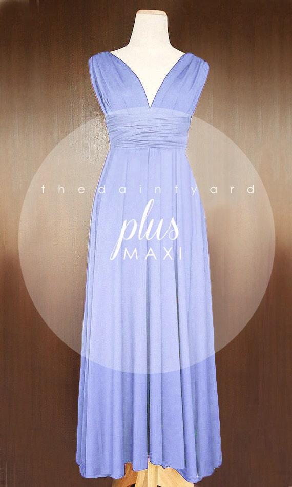 Maxi plus size periwinkle bridesmaid dress convertible dress for Periwinkle dress for wedding
