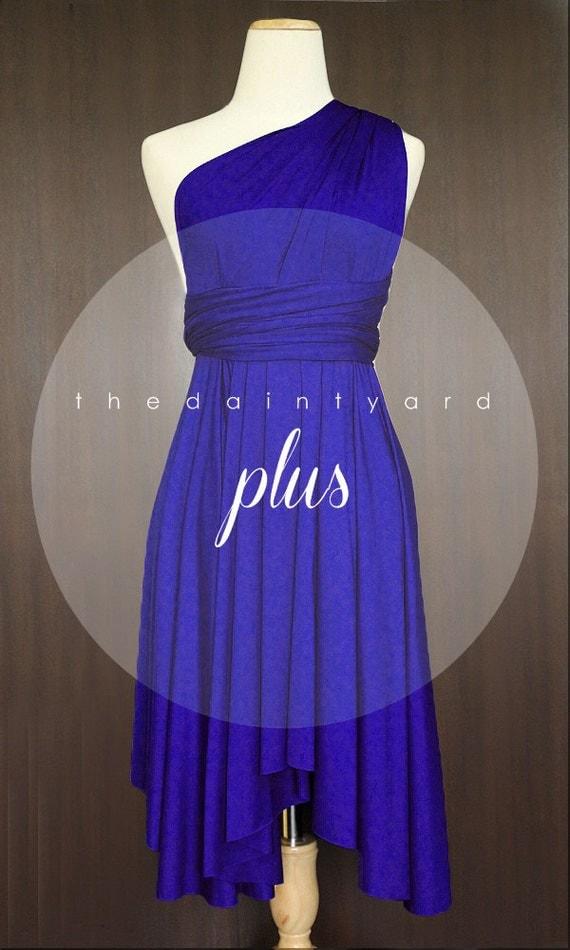 Plus size royal blue bridesmaid dress convertible dress for Royal blue plus size wedding dresses