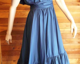 Vintage AFTER FIVE Blue Size 8  Ruffled Prairie Dress