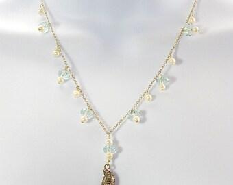 Pearl starfish necklace , blue quartz beads, freshwater pearls, beach jewelry, sterling starfish pendant, shabby chic, casual jewelry