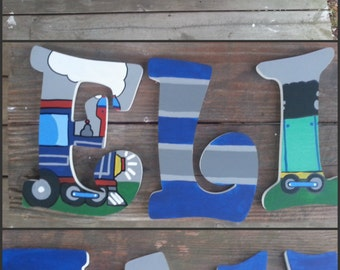 Everything Choo Choo Inspired Hand Painted Wooden Letters, Custom wood letters, Custom name letters, Train name letters, Painted Letters