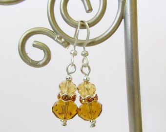 Crystal Rhinestone Earrings - Beaded Yellow / Silver Dangle Earrings - Stacked Bead Earrings - Handmade Jewelry - Christmas Gifts for Her