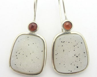 White Drusy and Garnet Drop Earrings Sterling Silver Signed