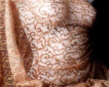 Copper Brown Corded Chantilly Lace Fabric with Metalic Gold Floral Embroidered Lace for DIY Lingerie Bridal Gown Evening dress Ready to Ship