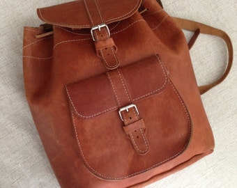 80s vintage England orange brown travelling cowhide leather backpack