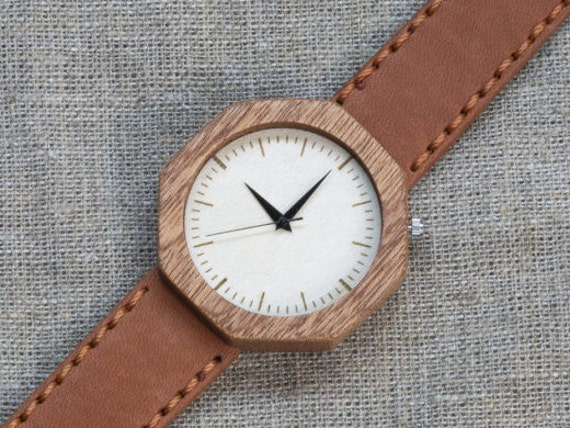 African Sapele minimal wood watch , Majestic Watch for him,  Terracotta Genuine Leather strap + Any Engraving / Gift Box. Anniversary  gift
