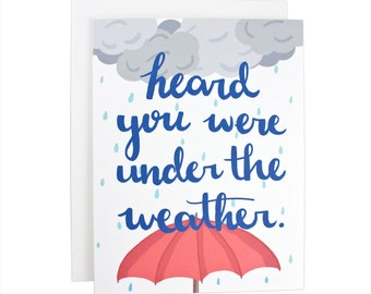 Heard You Were Under The Weather greeting card, sick, sorry, typography, get well
