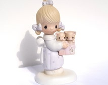 """Precious Moments, E-3120, Jonathan & David, """"To Thee With Love"""", Collectible Figurine, Just for You, Kitten Figurine, Porcelain Figurine"""
