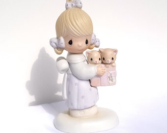 "Precious Moments, Jonathan & David, ""To Thee With Love"", Collectible Figurine, Just for You, Kitten Figurine, Porcelain Figurine, Baby Gift"