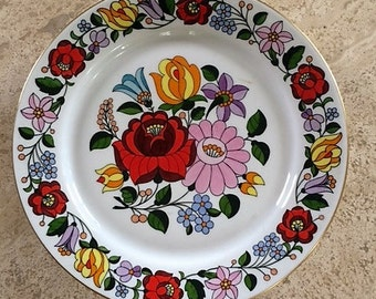 Hungarian Plate, Handpainted Plate, Plate from Hungary, Kalocsa Hungary, Folk Art, Ceramic, Wall Hanging