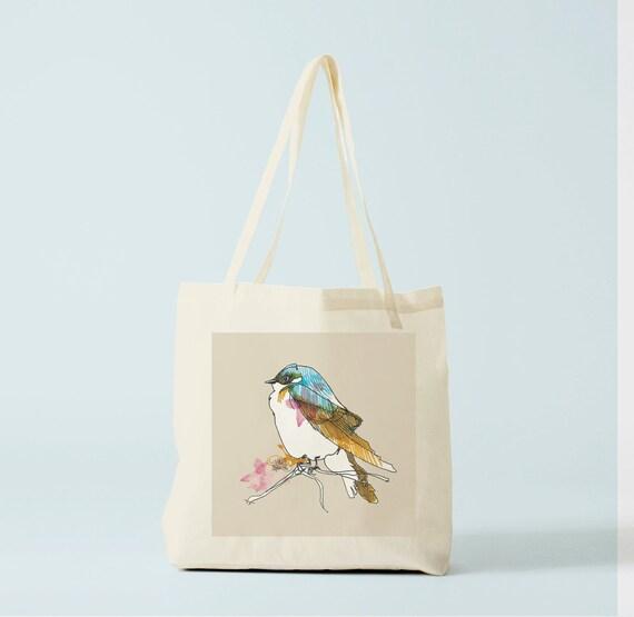 Tote bag Blue Bird, school bag, handbag, groceries bag, sports bag, swimming-pool bag, books bag, baby bag with blue bird.