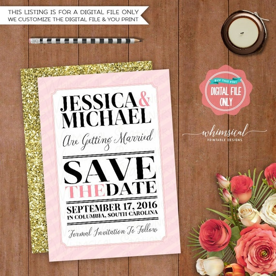 Save the Date Big Words Stripe Printable File Only Simple – Simple Listing Words