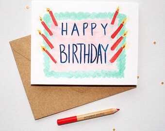 Unique Happy Birthday Cake Card