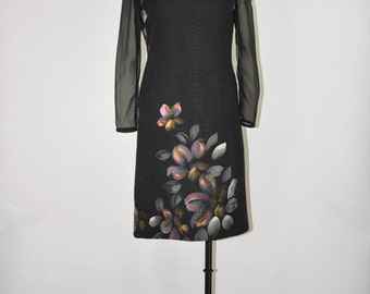 60s black sheath dress / vintage floral lbd / chiffon party dress
