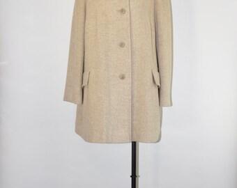 90s oatmeal wool coat / 1990s herringbone coat / vintage short wool coat