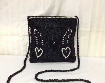 Black Beaded purse,bag,beaded hearts, Shoulder Bag, White, Black,formal purse