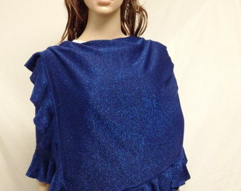 Free Ship Sparkly Blue Knit Wrap Shawl Ruffled