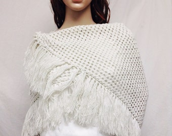 Knit shawl,Sparkly, White, with Silver, Shawl ,Wrap, Fringed