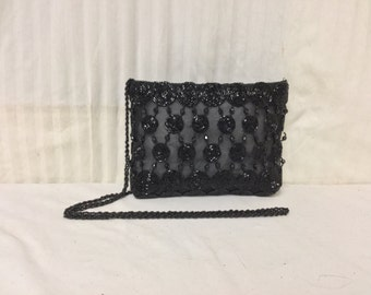 Free Ship Semi Sheer Black Beaded Purse Shoulder bag