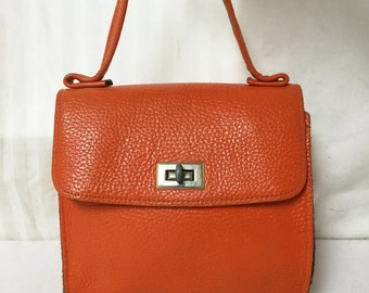 Leather Kelly bag,purse,bags,Kelly Bag, Orange, Handbag