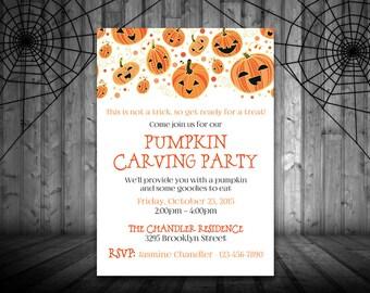 Pumpkin Carving Party Invitation Template - Halloween Party Invitation - Halloween Printable - Jack o' Lantern Invitation - DIY Invitation