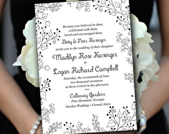 "Printable Wedding Invitation Template - Garden Wedding Invitation - DIY Wedding Template ""Whimsy"" - Black Wedding Invitation Download"