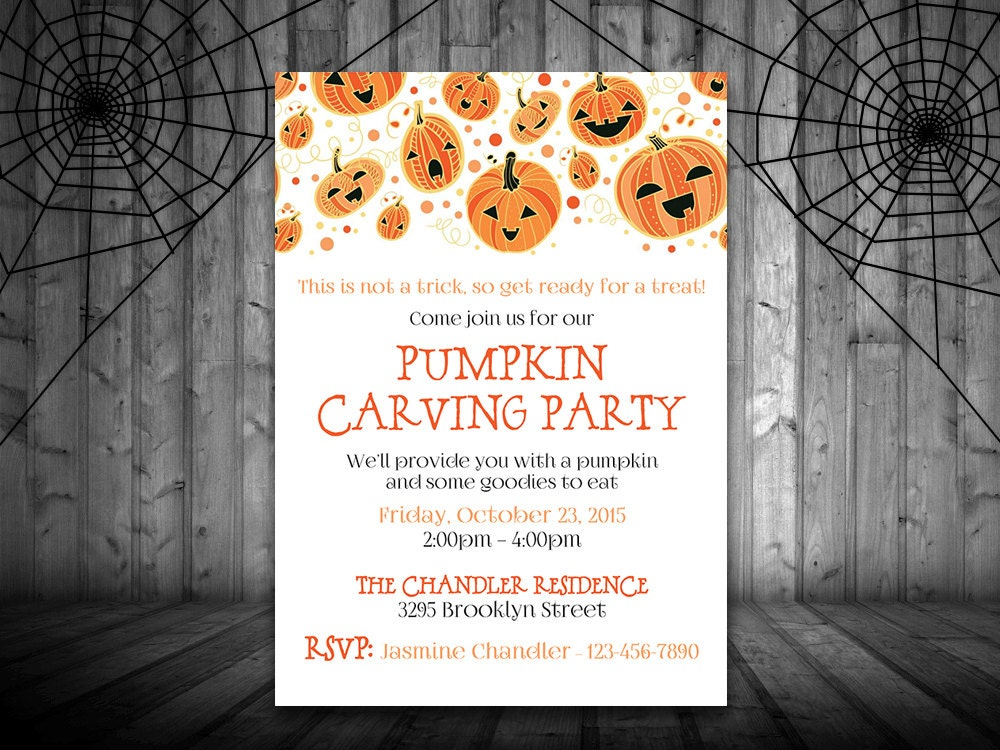 Pumpkin Carving Party Invitation Template Halloween Party