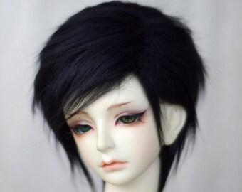 short black BJD doll fur wig SD MSD yosd