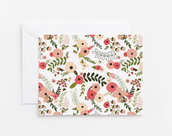 Floral Notecard Set of 8   Folded Illustrated Notecards with Hand Drawn Botanical Pattern: Blooming Wreath Collection