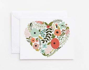Floral Heart Card Set | Hand Illustrated Floral Heart Notecard Set of 8 : Floral Heart Cards
