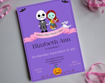 Nightmare Before Christmas Birthday-Girl-Printable Invitation-INSTANT DOWNLOAD-Editable-Party Printable-Birthday-Party-invite