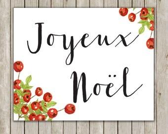 8x10 Christmas Printable, Joyeux Noel, Merry Christmas, Typography Print, Typography Art, Holiday Decor, Poster Art, Instant Download