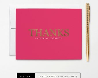 Flat or Folded Thank You Note Cards // Set of 10 // Faux Gold Foil 'Thanks' on Hot Pink // Personalized Stationery // S105