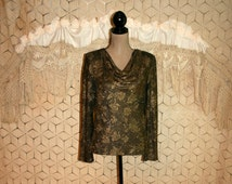 Gold Blouse Medium Formal Dressy Top Brocade Long Sleeve Sparkly Metallic Gold Top Drape Neck Floral Brocade Womens Clothing
