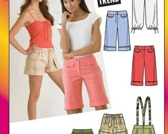 Simplicity 3849. Juniors Cropped Pants and Shorts. Size 11/12, 13/14, 15/16.  Pattern new and uncut.