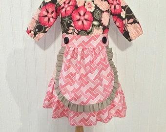 Girls apron dress Girls peasant dress Girls size 2t Girls fall dress Ready to ship