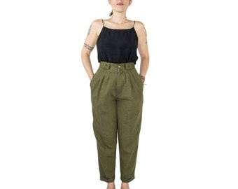 Vintage 90s High Waist Olive Green Taper Trousers | Pleated Minimalist Boho Chic | Size 27