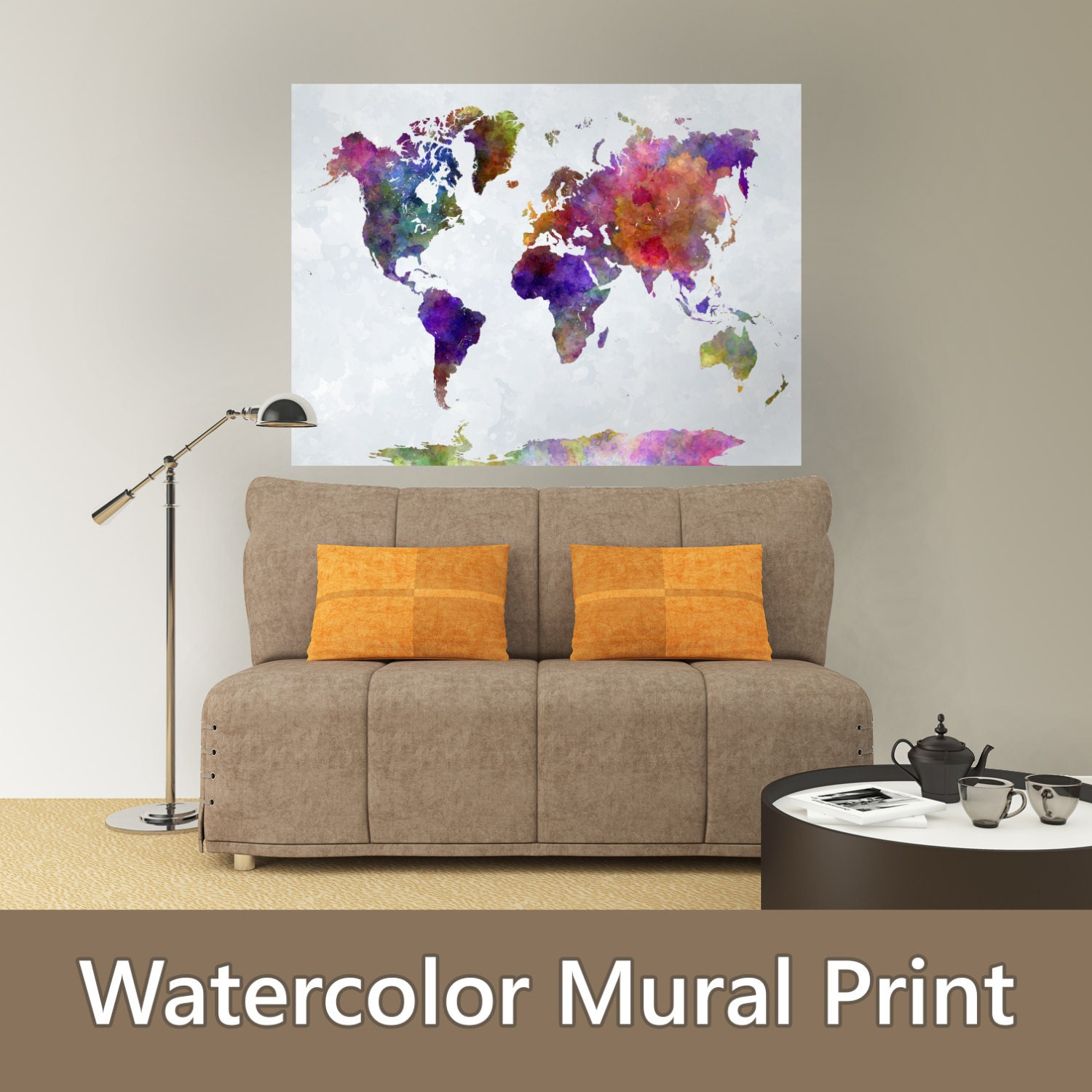 World map watercolor paint poster mural decal sticker wall - Comment coller un poster mural ...