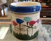 Vintage Kenwick Galleries Australian Pottery Utensil Holder Painted Crock