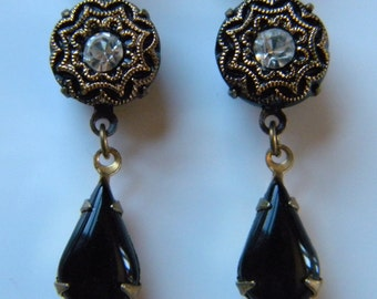 Black and Gold Button Dangle Earring Glass Button  Earring Formal Earring