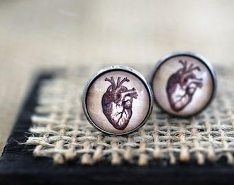 Anatomical Heart Cufflinks, Anatomical Heart, Anatomy Cufflinks, Anatomical Heart Jewelry, Heart Cufflinks, Retro Wedding, Groomsmen Gift